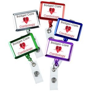 Retractable Badge Holder - Rectangle - Chrome Finish Image 2 of 5