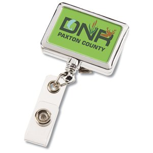 Retractable Badge Holder - Rectangle - Chrome Finish Image 5 of 5