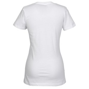Bella+Canvas V-Neck Jersey T-Shirt - Ladies' - White - Embroidered Image 1 of 1