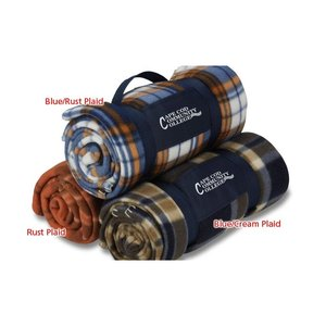 Galloway Travel Blanket – Blue/Rust Plaid Image 3 of 3
