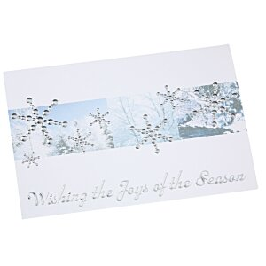 Silver Snowflakes in Snow Greeting Card Image 5 of 6