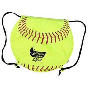 Game Time! Softball Drawstring Backpack - 24 hr Image 1 of 1