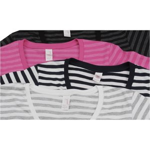 Anvil 5.0 oz. Striped V-Neck T-Shirt - Ladies' - Embroidered Image 2 of 2
