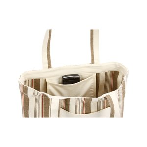 Kelsey Natural Stripe Tote - Closeout