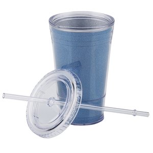 Glitter Tumbler with Straw - 16 oz.