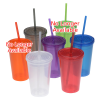 Economy Double Wall Tumbler with Straw - 16 oz.