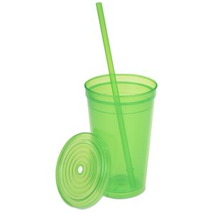 Economy Double Wall Tumbler with Straw - 16 oz. Image 1 of 2