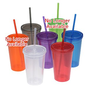 Economy Double Wall Tumbler with Straw - 16 oz. - 24 hr Image 2 of 2