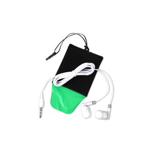 Cell Phone Cleaning Pouch with Ear Buds Image 4 of 4
