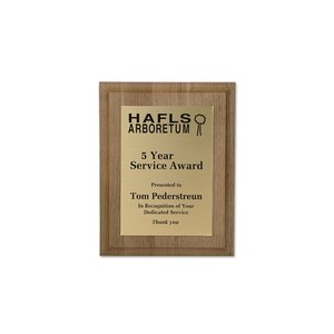 Walnut Finished Wood Plaque with Aluminum Plate - 9