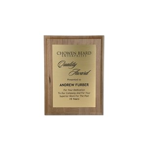 Walnut Finished Wood Plaque with Aluminum Plate - 12