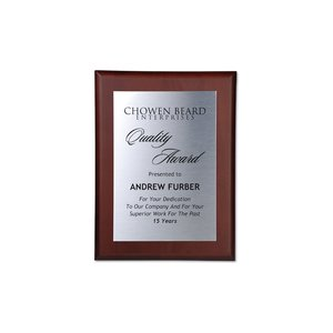 Cherry Finished Wood Plaque with Aluminum Plate - 12""