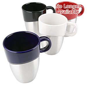 Double Dipper Ceramic Mug with Stainless Base - 11 oz. Image 1 of 2