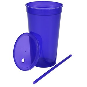 Stadium Cup with Lid & Straw - 32 oz. - Jewel Image 2 of 2
