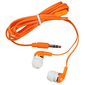 Flat Cord Ear Buds with Microfiber Pouch Image 1 of 2