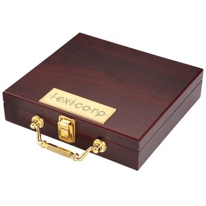 Wooden Box Poker Set Image 1 of 2