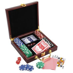 Wooden Box Poker Set Image 2 of 2