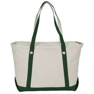 "Canvas 12 oz. Sailing Zip Top Tote - 24"" x 14"""