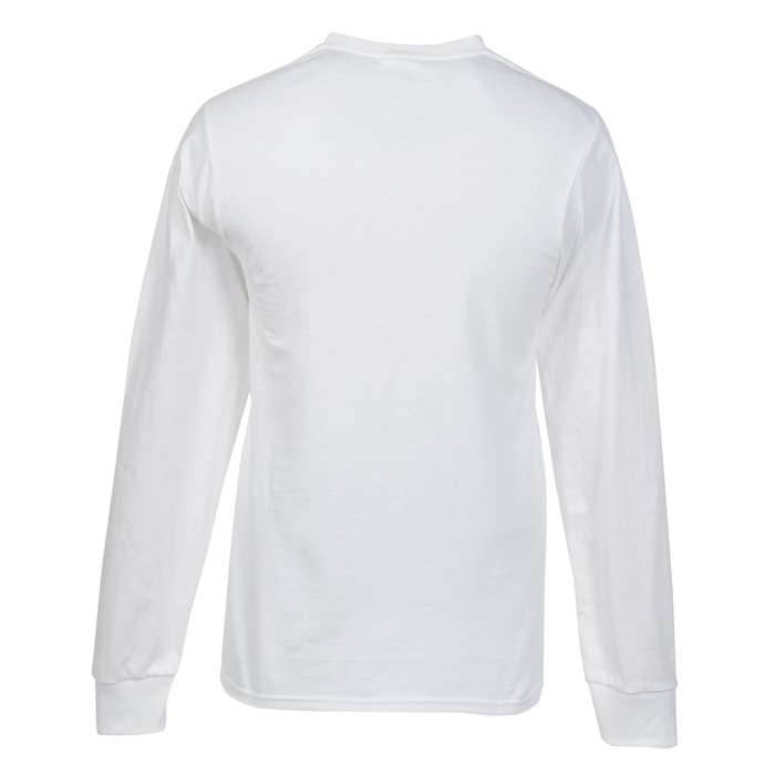 soft spun cotton long sleeve t shirt white