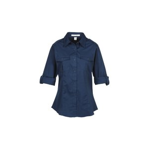 Two-Pocket Stain-Resistant Roll Sleeve Shirt - Ladies' Image 1 of 2