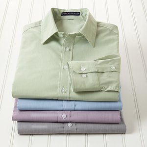 Fine Stripe Stretch Poplin Shirt - Men's Image 2 of 2