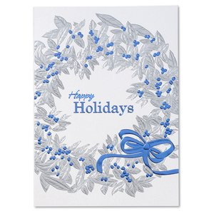 Blue Ribbon Wreath Greeting Card Image 2 of 3