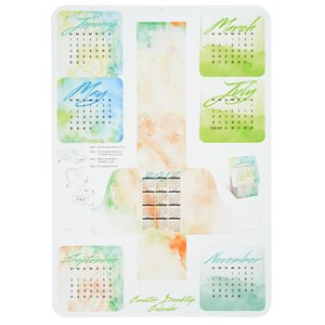 Coaster Desk Top Calendar - Watercolor