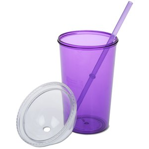 Domed Tumbler with Straw - 20 oz. Image 2 of 3