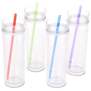 Skinny Cylinder Tumbler w/Straw - 16 oz. - Overstock Image 2 of 2