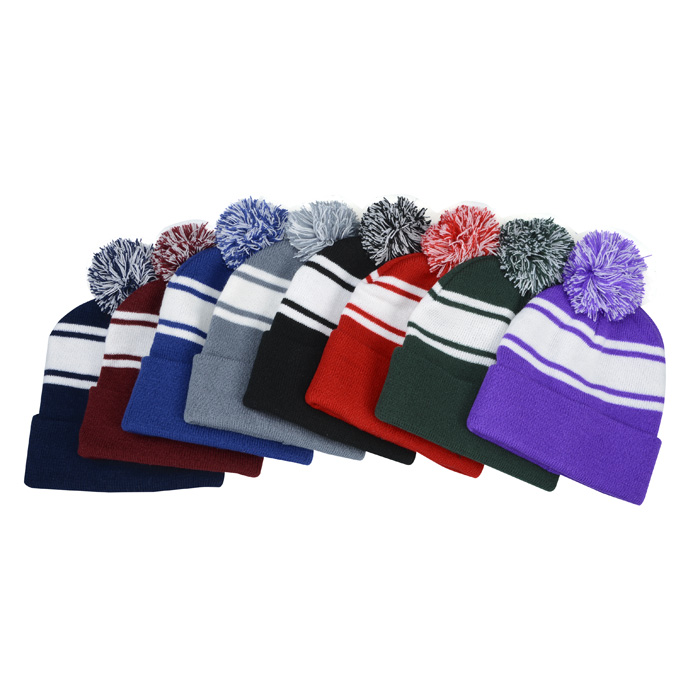 2f13f543cd748 4imprint.com  Pom Pom Cuff Beanie with Stripes 128163