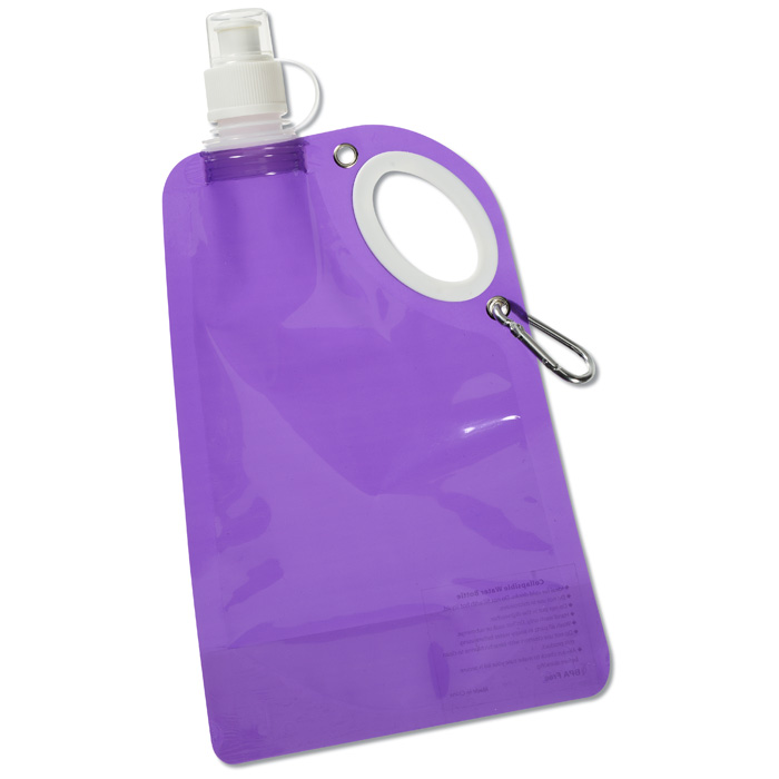 Flat Water Bottle >> Customizable 4imprint Com Fold Flat Water Bottle With Carabiner