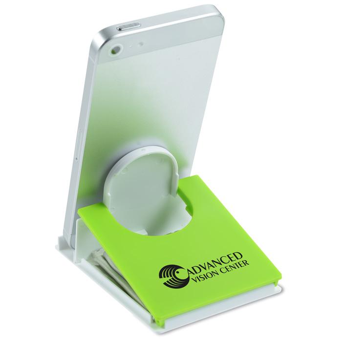 Microfiber Cloth Phone: 4imprint.com: Fold Flat Phone Stand With Microfiber Cloth