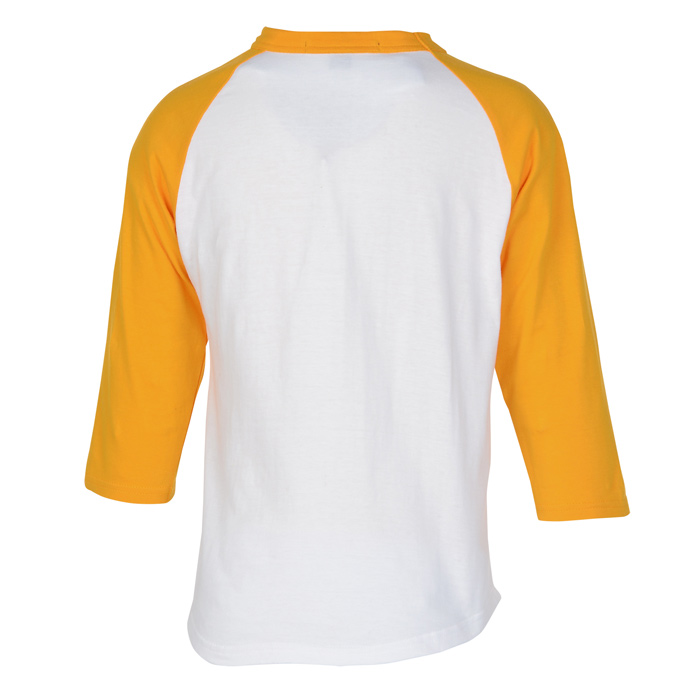 cba775417624 Colorblock 3/4 Sleeve Cotton Baseball T-Shirt - Youth - Embroidered Image 1