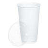 View Extra Image 1 of 1 of Economy White Plastic Cup with Straw Slotted Lid - 20 oz.
