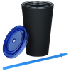 View Extra Image 1 of 1 of Matte Rubberized Tumbler with Straw - 16 oz.