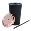 View Extra Image 1 of 2 of Matte Rubberized Tumbler with Straw - 16 oz. - Metallic Lid