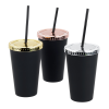 View Extra Image 2 of 2 of Matte Rubberized Tumbler with Straw - 16 oz. - Metallic Lid