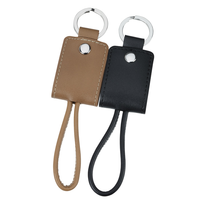 19df00f5 4imprint.com: Nathan Leather Duo Charging Cable Keychain 141963