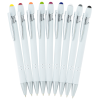 View Image 3 of 6 of Incline Soft Touch Stylus Metal Pen - White