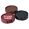 View Extra Image 2 of 3 of Vintage Round Bonded Leather Coaster Set