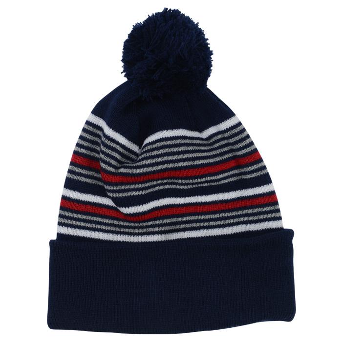 d3894e3ccc5 4imprint.com  Multi-Stripe Pom Pom Knit Beanie 149438