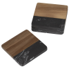View Extra Image 1 of 1 of Black Marble and Wood Coaster Set