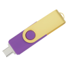 View Extra Image 2 of 4 of Swivel USB-C Drive - Gold - 8GB - 24 hr