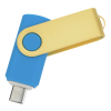 View Extra Image 1 of 4 of Swivel USB-C Drive - Gold - 16GB - 24 hr