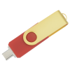 View Extra Image 2 of 4 of Swivel USB-C Drive - Gold - 32GB - 24 hr