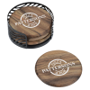 View Extra Image 1 of 4 of Acacia Wood 4 pc Coaster Set in Metal Stand - Round