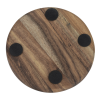 View Extra Image 3 of 4 of Acacia Wood 4 pc Coaster Set in Metal Stand - Round