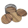 View Extra Image 4 of 4 of Acacia Wood 4 pc Coaster Set in Metal Stand - Round