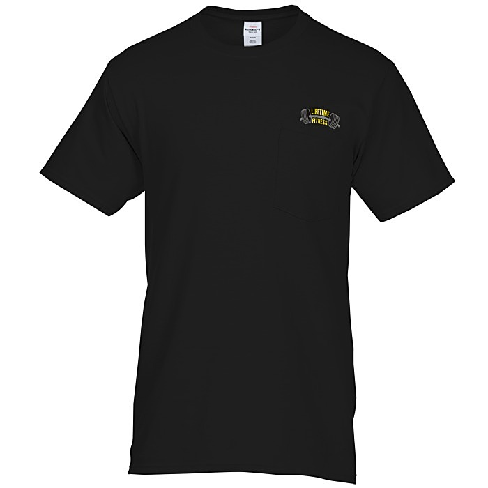 4imprint Hanes Tagless Pocket T Shirt Embroidered Colors