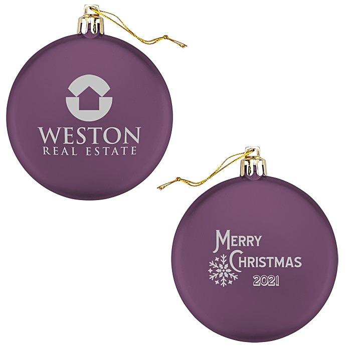 Satin Flat Ornament - Snowflake - Merry Christmas